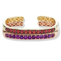 gemstone-bracelet-cirque-Jane-Taylor-cuff-bracelet-rose-gold-amethyst-yellow-gold-red-garnet-cabochons