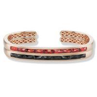gemstone-bracelet-cirque-Jane-Taylor-cuff-bracelet-yellow-gold-red-garnet-rose-gold-black-spinel-french-cut-baguettes
